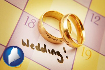 wedding day plans, with gold wedding rings - with Maine icon