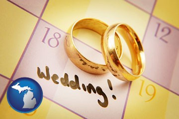 wedding day plans, with gold wedding rings - with Michigan icon