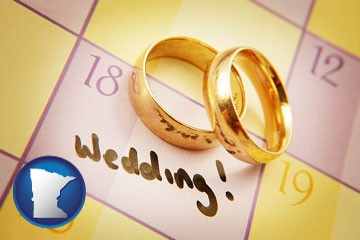 wedding day plans, with gold wedding rings - with Minnesota icon