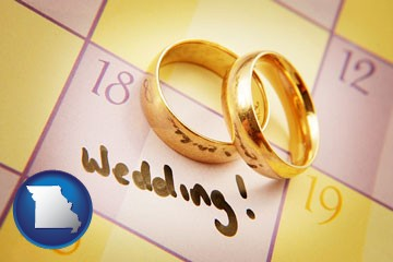 wedding day plans, with gold wedding rings - with Missouri icon