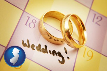 wedding day plans, with gold wedding rings - with New Jersey icon