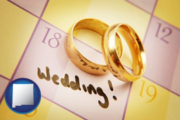 wedding day plans, with gold wedding rings - with New Mexico icon
