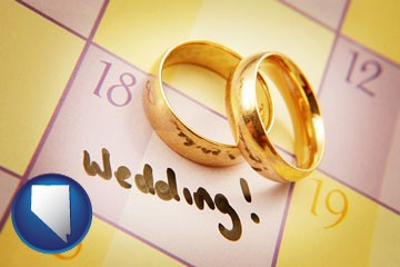 wedding day plans, with gold wedding rings - with Nevada icon