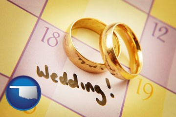 wedding day plans, with gold wedding rings - with Oklahoma icon