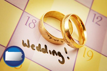 wedding day plans, with gold wedding rings - with Pennsylvania icon