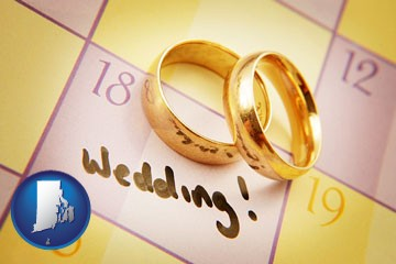 wedding day plans, with gold wedding rings - with Rhode Island icon