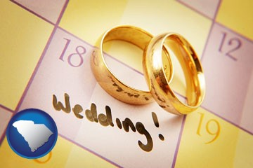 wedding day plans, with gold wedding rings - with South Carolina icon