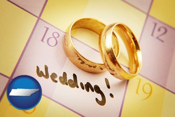 wedding day plans, with gold wedding rings - with Tennessee icon