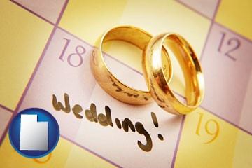 wedding day plans, with gold wedding rings - with Utah icon