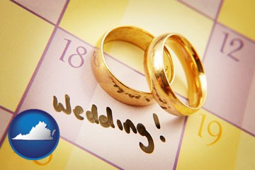 wedding day plans, with gold wedding rings - with Virginia icon