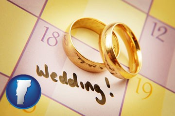 wedding day plans, with gold wedding rings - with Vermont icon