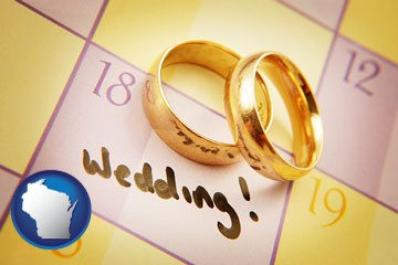 wedding day plans, with gold wedding rings - with Wisconsin icon