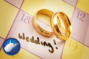 wedding day plans, with gold wedding rings - with West Virginia icon