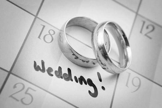 wedding day plans, with gold wedding rings